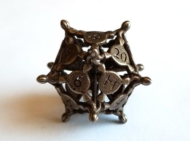 D20 Balanced - Snakes (Steel) in Polished Bronze Steel