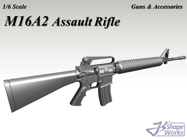 1/6 M16A2 Assault Rifle in White Natural Versatile Plastic