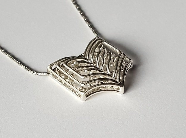 Book pendant in Natural Silver