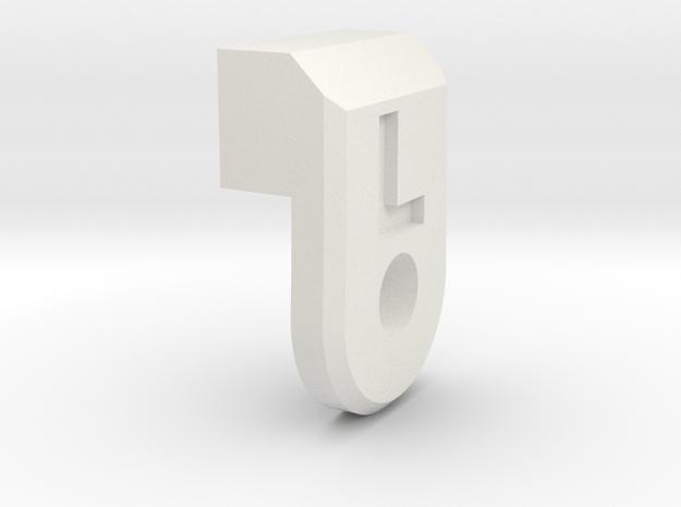 Body Mount Lock L in White Natural Versatile Plastic