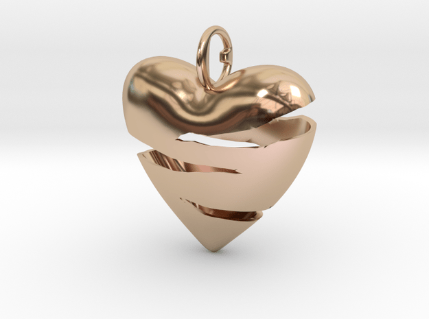 Torn heart of Susanne in 14k Rose Gold