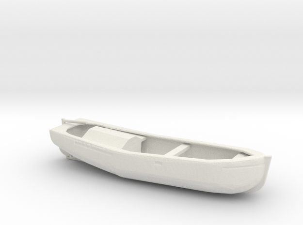 1/72 Scale 27ft Motor Work Boat in White Natural Versatile Plastic
