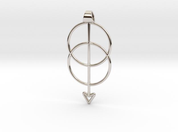Mandorla Intersection Pendant in Rhodium Plated Brass