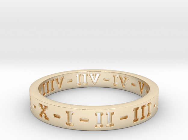 Roman Numerals Ring in 14K Yellow Gold: 6 / 51.5