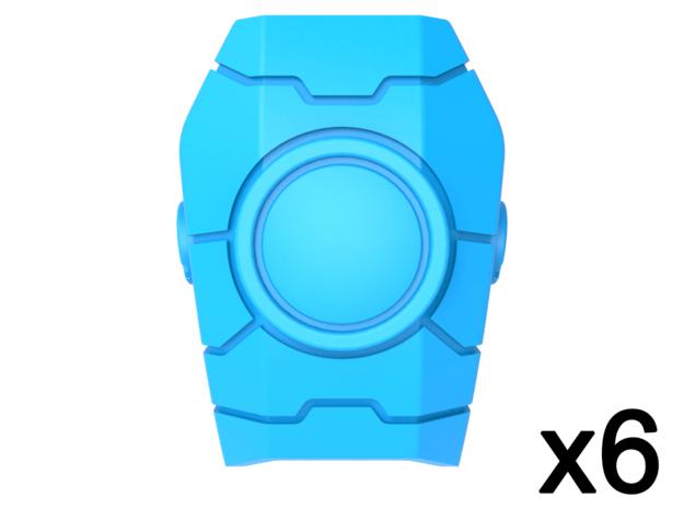 Commander Mech Geometric Pauldrons Blank in Smooth Fine Detail Plastic