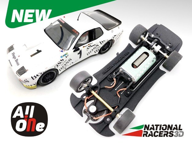 Chassis - Falcon Slot Cars Porsche 924 GTR  in Black Natural Versatile Plastic