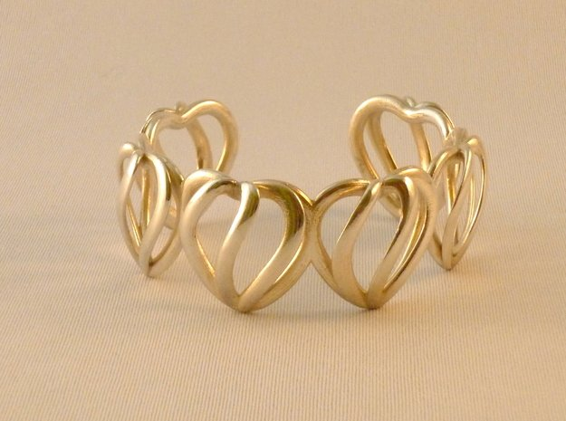 Heart Cage Bracelet (5 large hearts) in Polished Silver