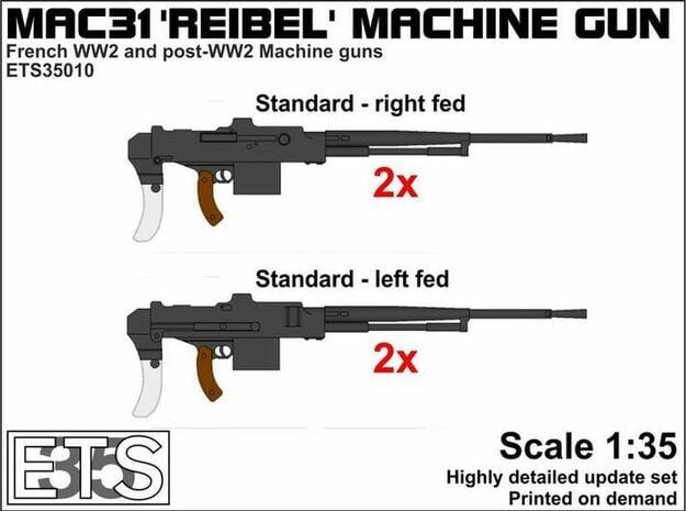 ETS35010 Reibel Machine Gun - 4x - 1:35 scale in Smooth Fine Detail Plastic