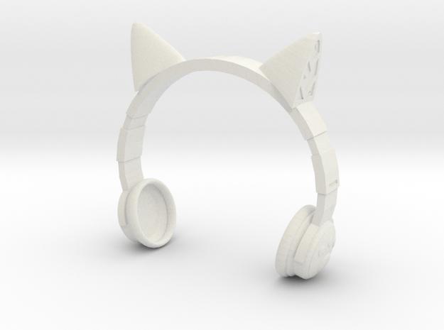 Cat Headphones in White Natural Versatile Plastic