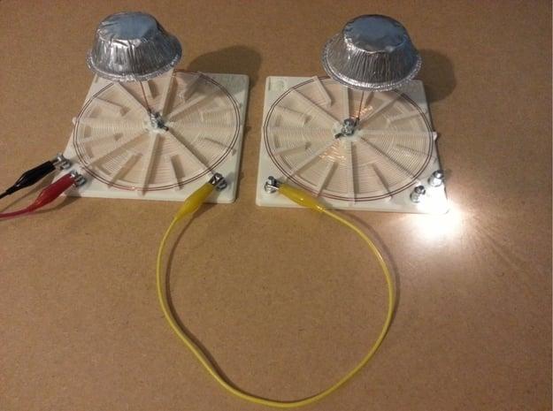 Tesla Flat Spiral Coil Base Set - 140mm in White Natural Versatile Plastic