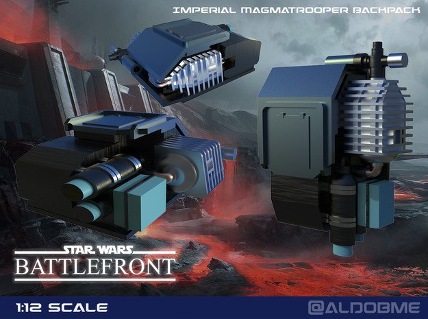 Star Wars Battlefront Backpack Magmatrooper  in Smooth Fine Detail Plastic