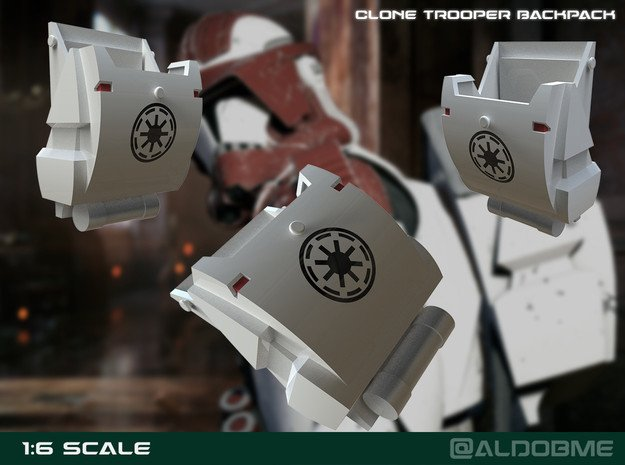 Clone Trooper Backpack 1:6 scale in White Processed Versatile Plastic