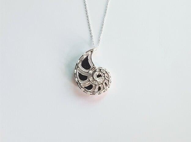 Nautilus skeleton pendant in Natural Silver