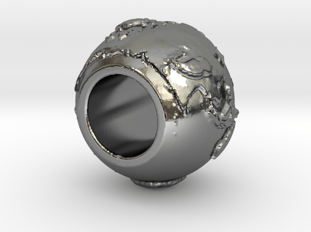 ring with land embossed around in Polished Silver