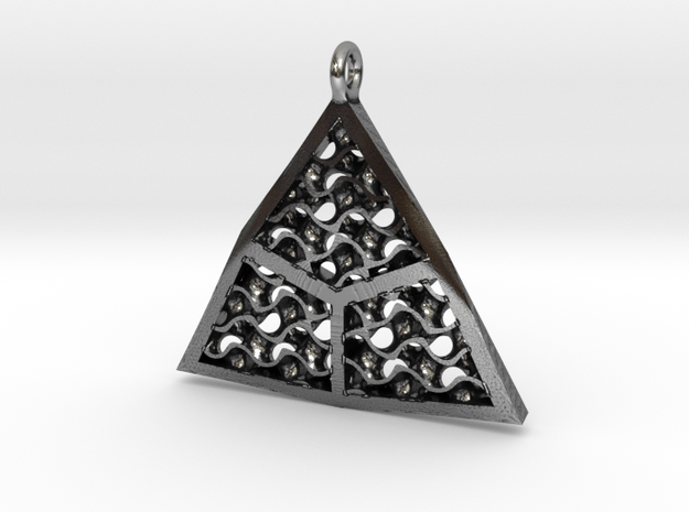 Triangulated Gyroid Pendant in Antique Silver