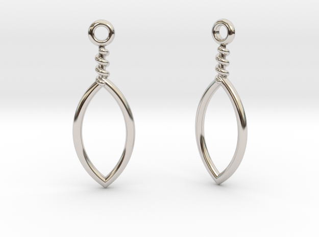 Mandorla Drop Earrings in Rhodium Plated Brass