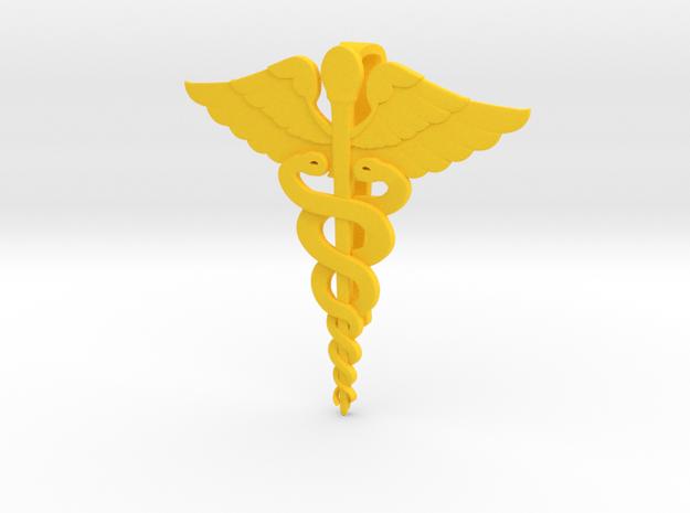 Caduceus Tie Bar (Plastics) in Yellow Processed Versatile Plastic
