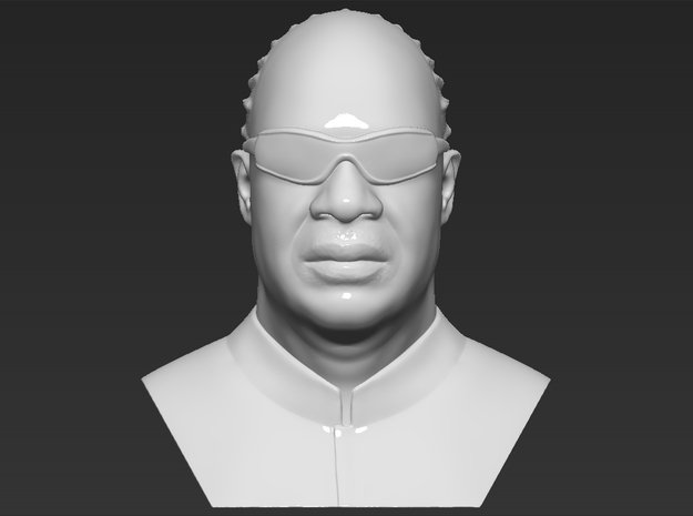 Stevie Wonder bust in White Natural Versatile Plastic