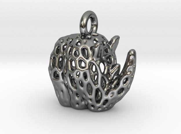 Tribal Rhino Voronoi Pendant in Polished Silver