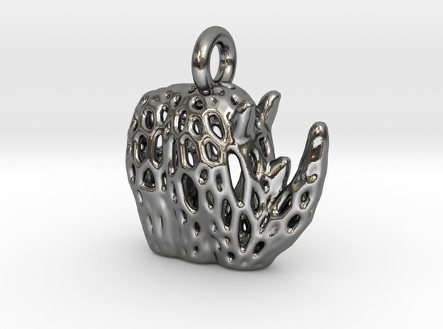 Flat Tribal Rhino Voronoi Pendant in Polished Silver