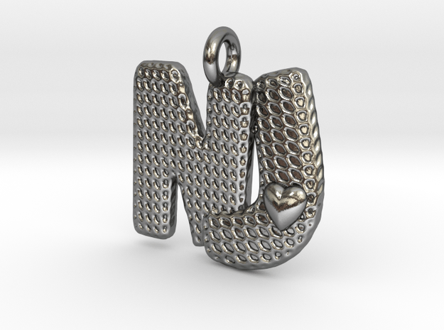 Combo Letter Pendant with Heart - 'NJ' in Polished Silver