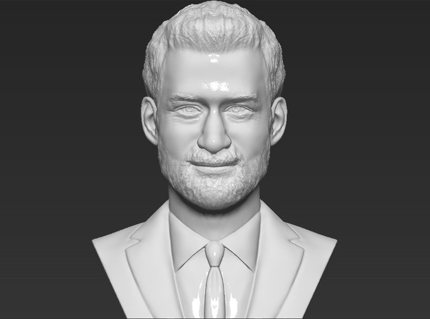 Prince Harry bust in White Natural Versatile Plastic