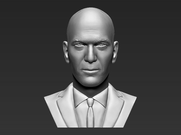 Zinedine Zidane bust in White Natural Versatile Plastic