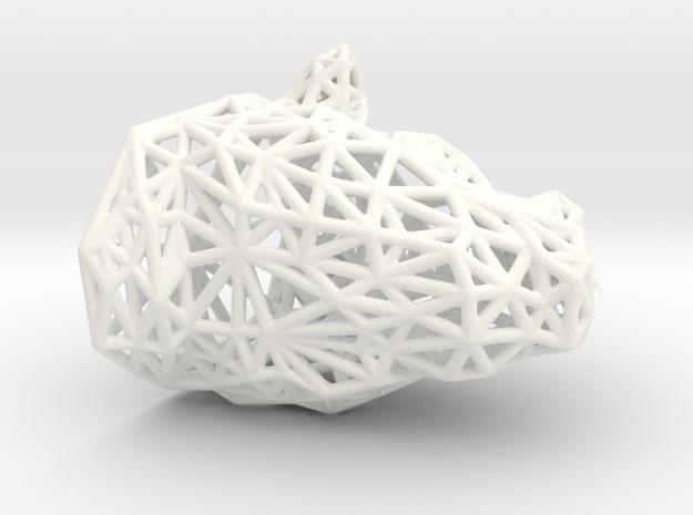 Rhino Wireframe in White Processed Versatile Plastic