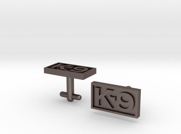 K-9 Cufflinks in Polished Bronzed Silver Steel