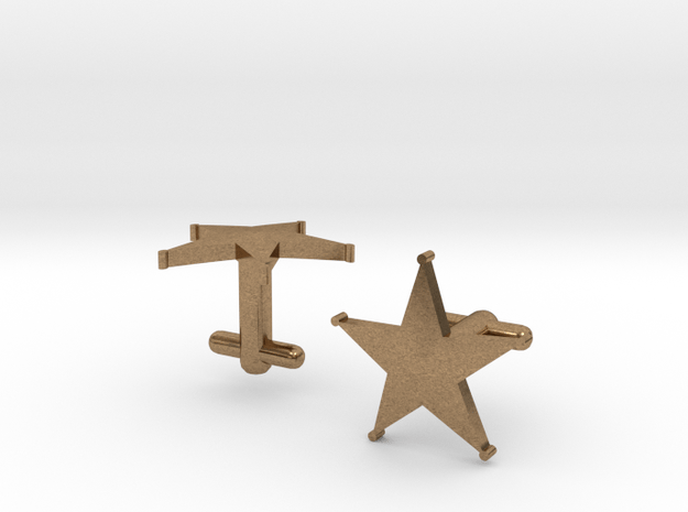 Sheriff's Star Cufflinks (1) Silver,Brass, or Gold in Natural Brass