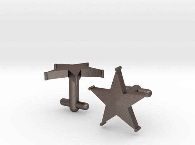 Sheriff's Star Cufflinks (Style 1) in Polished Bronzed Silver Steel