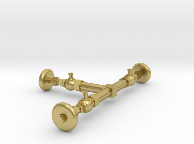 Tri Cocks, Old Fashioned Handles in Natural Brass: 1:20