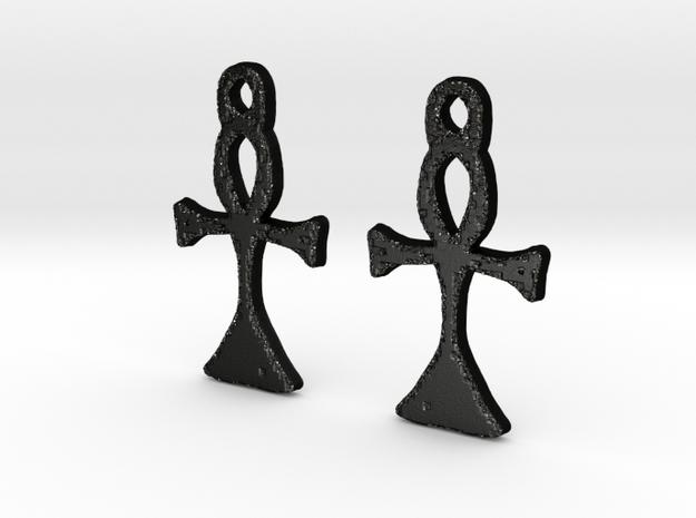 :Simple Ankh: Earrings in Matte Black Steel