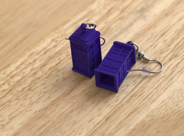T.A.R.D.I.S. earrings in Blue Processed Versatile Plastic