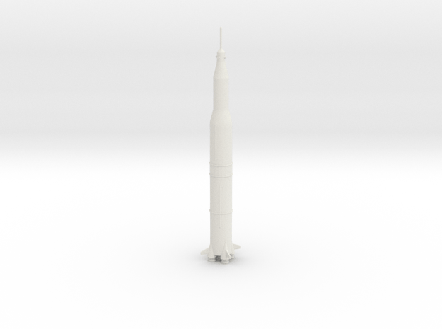 1/537 NASA Saturn 5 Rocket (3mm Hollow) in White Natural Versatile Plastic