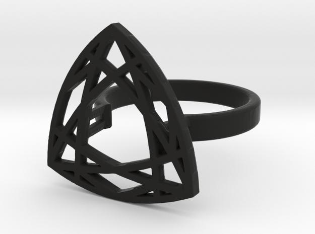 Trillion cut diamond ring 57 mm circumference in Black Premium Versatile Plastic