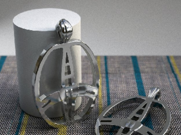 Garrett  coil pendant in Polished Silver