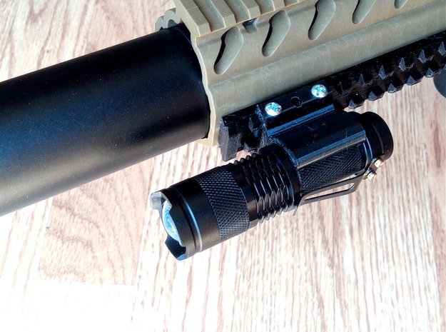 Fast Detach Picatinny Mount for Mini Cree Torch in Red Processed Versatile Plastic