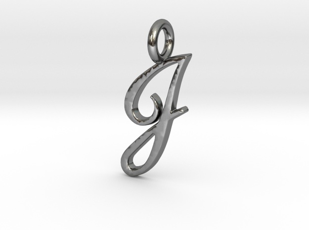 Smooth J in Polished Silver