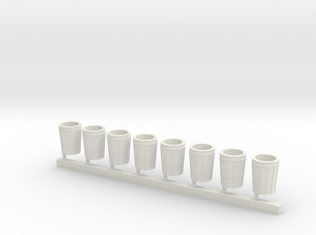 City Waste Can in HO 8x in White Natural Versatile Plastic: 1:87 - HO