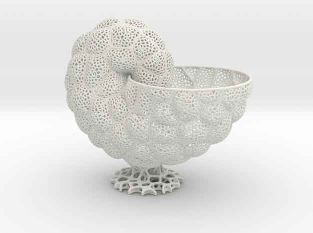 Nautilus Vase in White Natural Versatile Plastic