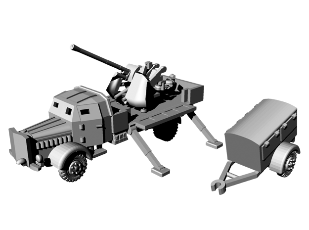 1/144 WWII German L4500A with 3.7 cm Flak 37 in Smooth Fine Detail Plastic