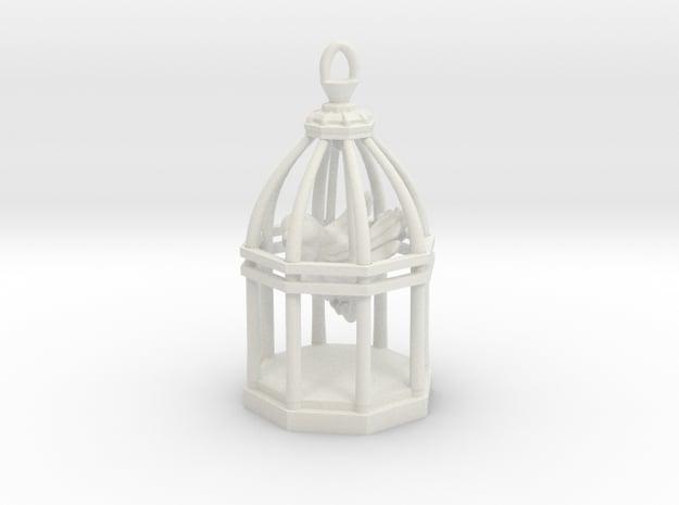 Little Bird In Cage V2 in White Natural Versatile Plastic