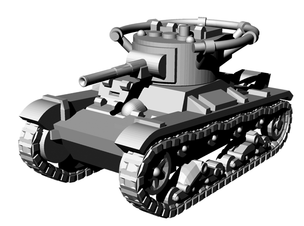 1/144 WWII Russian T-26 command tank in Smooth Fine Detail Plastic