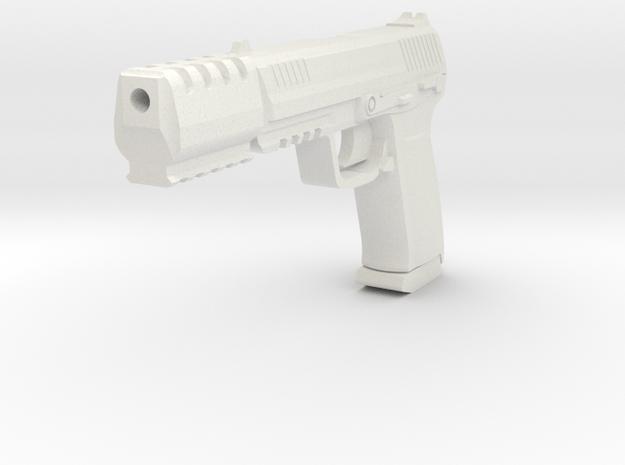 J.W. Pistol 1/6 Scale Miniature Gun Replica in White Natural Versatile Plastic