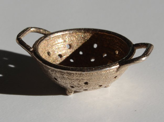 Colander in Polished Bronzed-Silver Steel