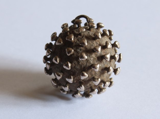 Coronavirus in Polished Bronzed-Silver Steel