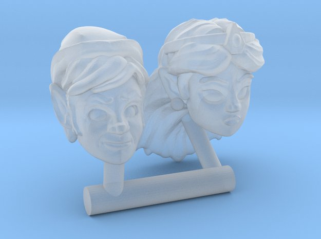 RetroToon Link & Zelda Heads (Multisize) in Smooth Fine Detail Plastic: Extra Small