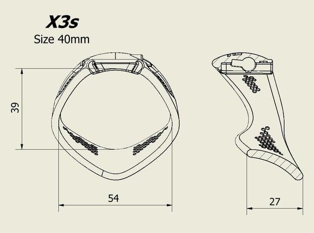 X3S Ring 40mm  in Black PA12