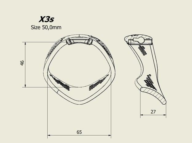 X3S Ring 50mm  in Black PA12